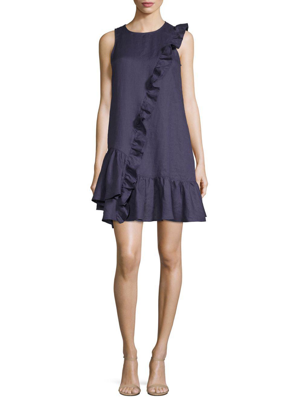 Lyst - Saks Fifth Avenue Black Ruffle Sleeveless Linen Dress in Blue