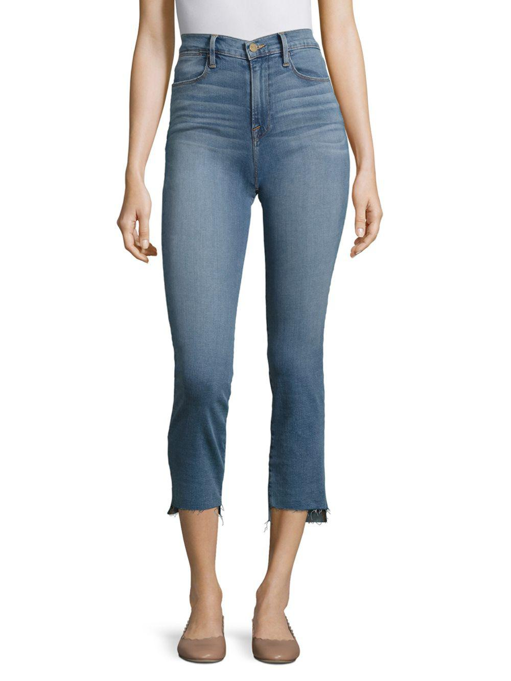 9e16f399b561d Lyst - FRAME Le High Straight-leg Step Hem Jeans in Blue - Save 28%