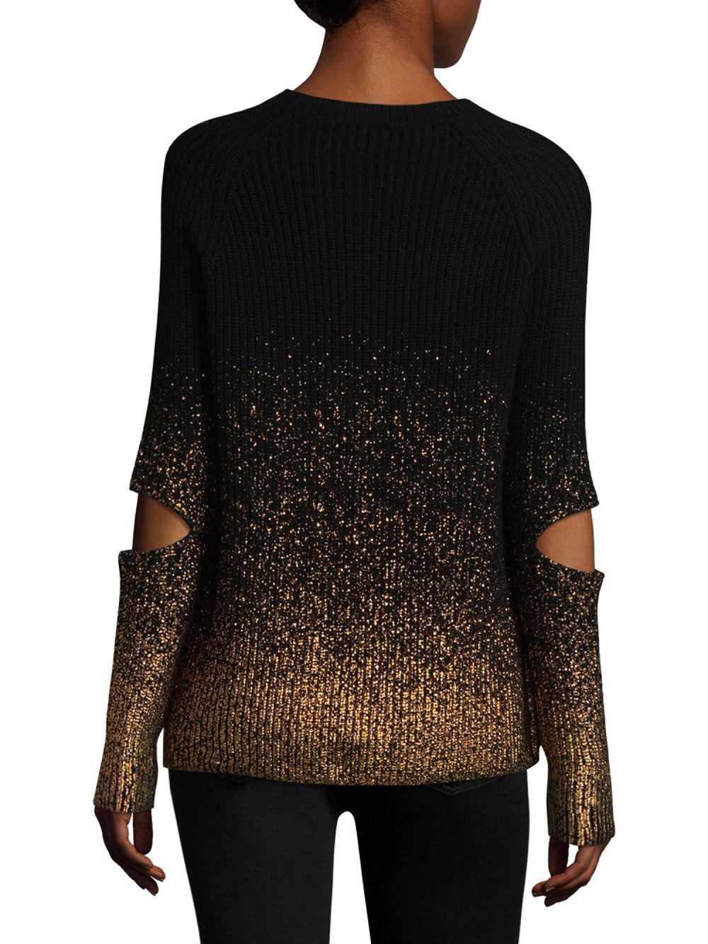 9781241827e6 Zoe Jordan Ribbed Metallic Cut-out Sweater in Black - Save 27% - Lyst