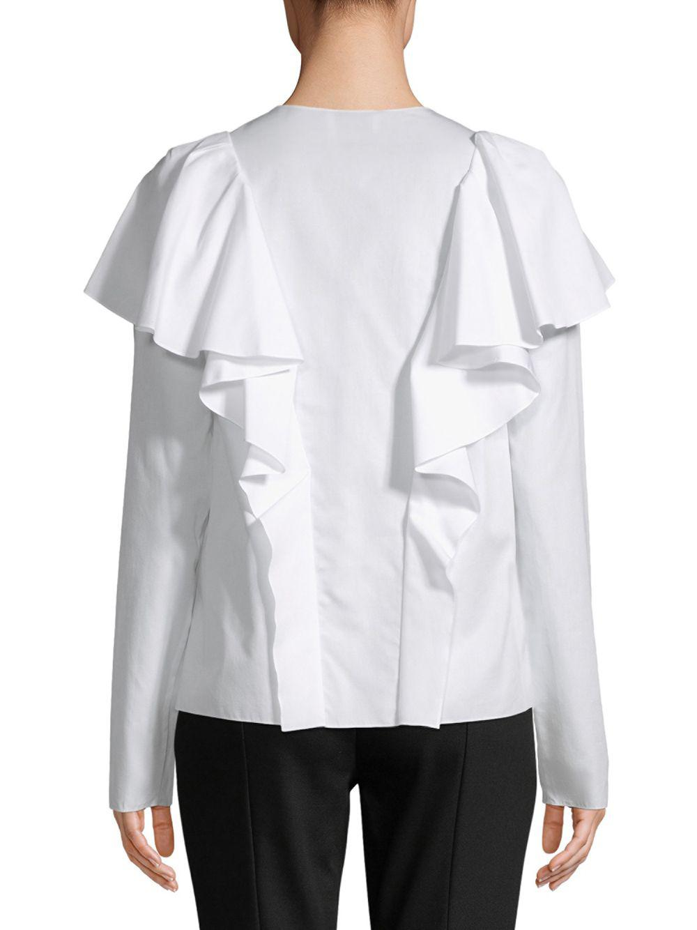 7dd115dd94a064 Lanvin - White Haut Ruffled Cotton Top - Lyst. View fullscreen
