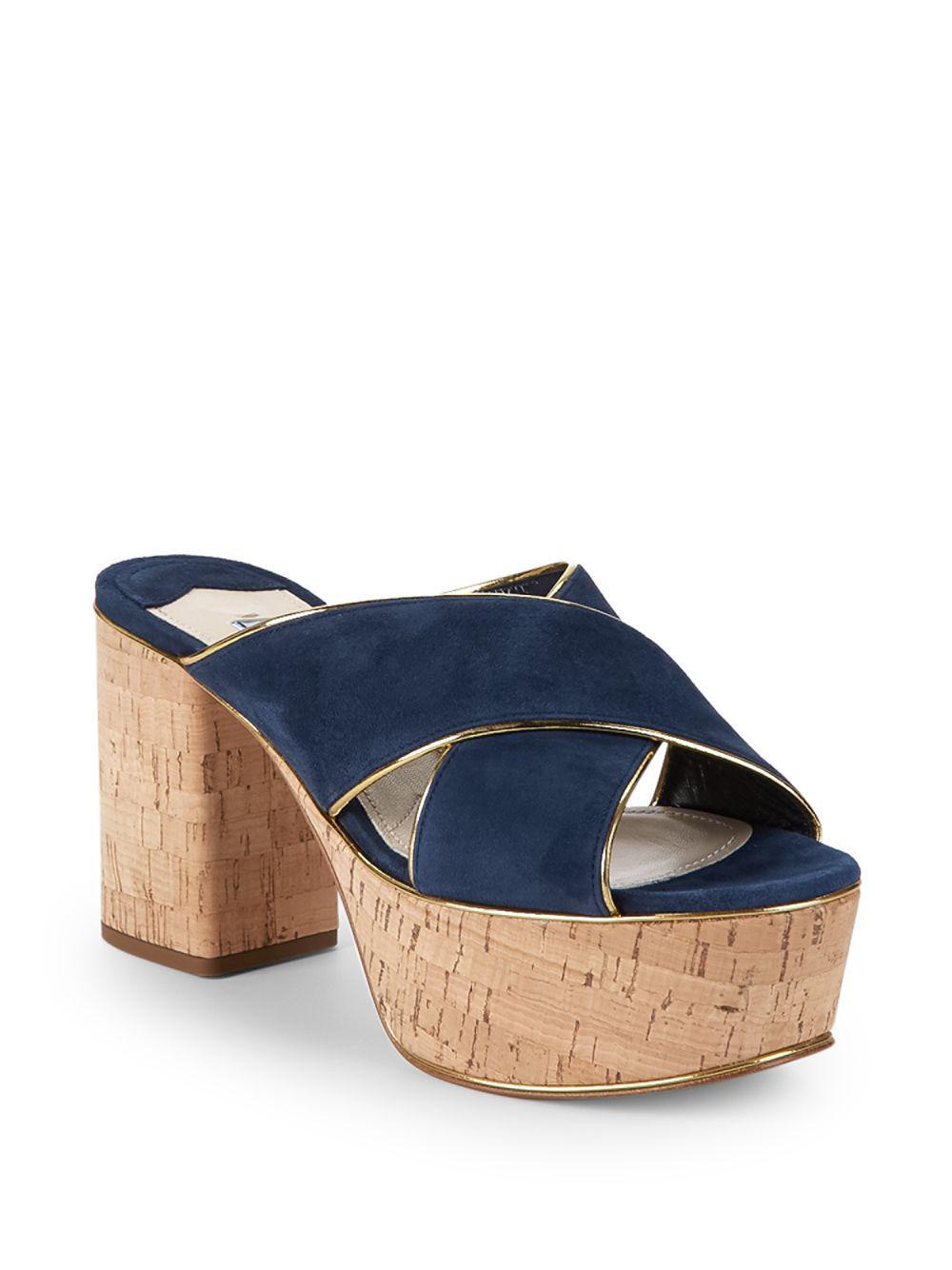 7603e37c0134 Lyst - Prada Crisscross Suede Platform Sandals in Blue
