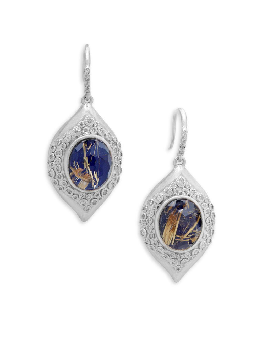 Armenta New World Diamond & Sapphire Scroll Earrings EA0BvkBMR