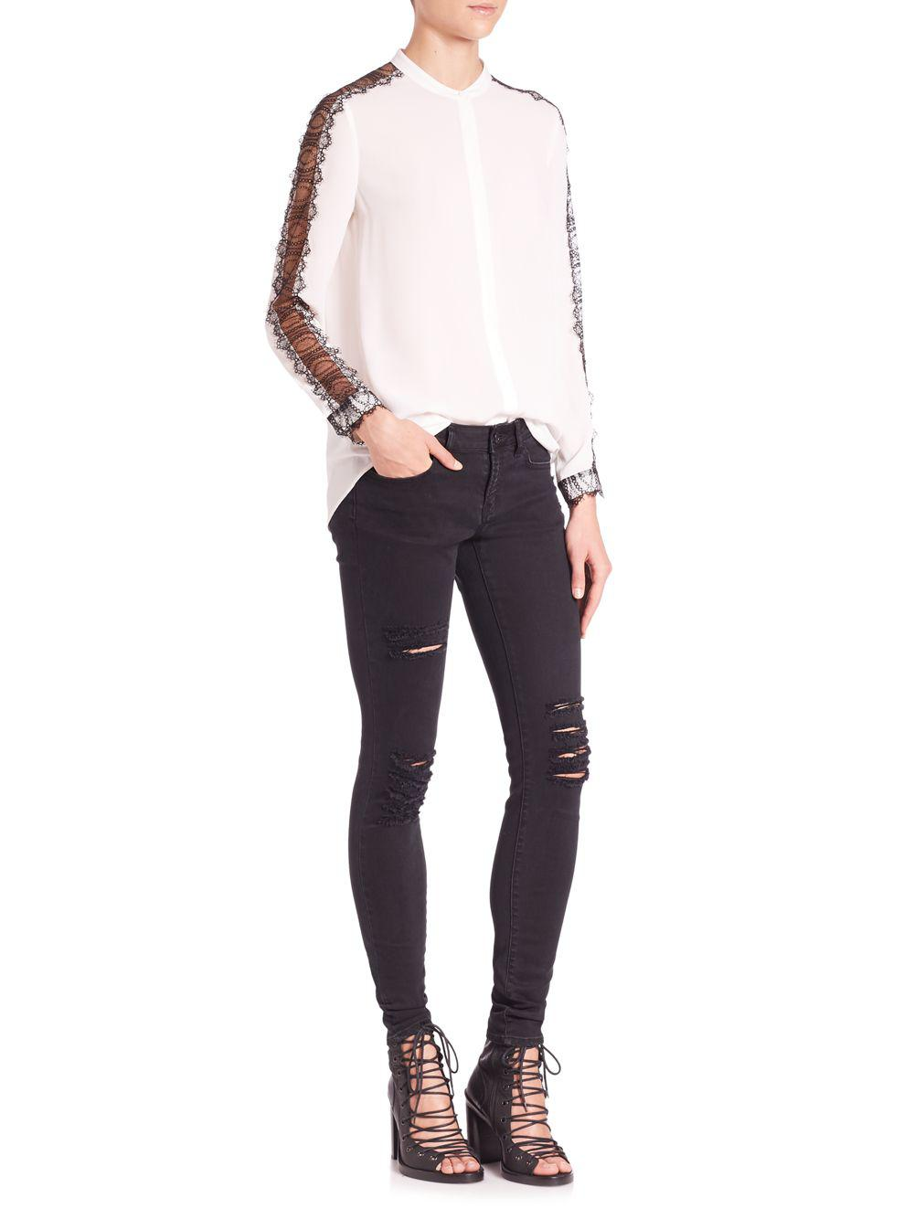 824045d0f0 Lyst - The Kooples Crepe And Fancy Lace Blouse