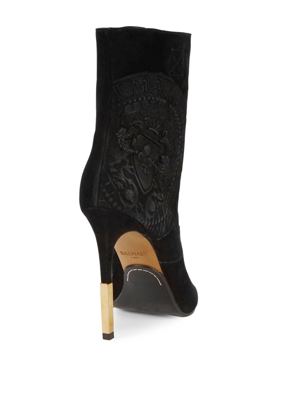 cb0b45d205 Lyst - Balmain Logo Embossed Suede Peep-toe Boots in Black