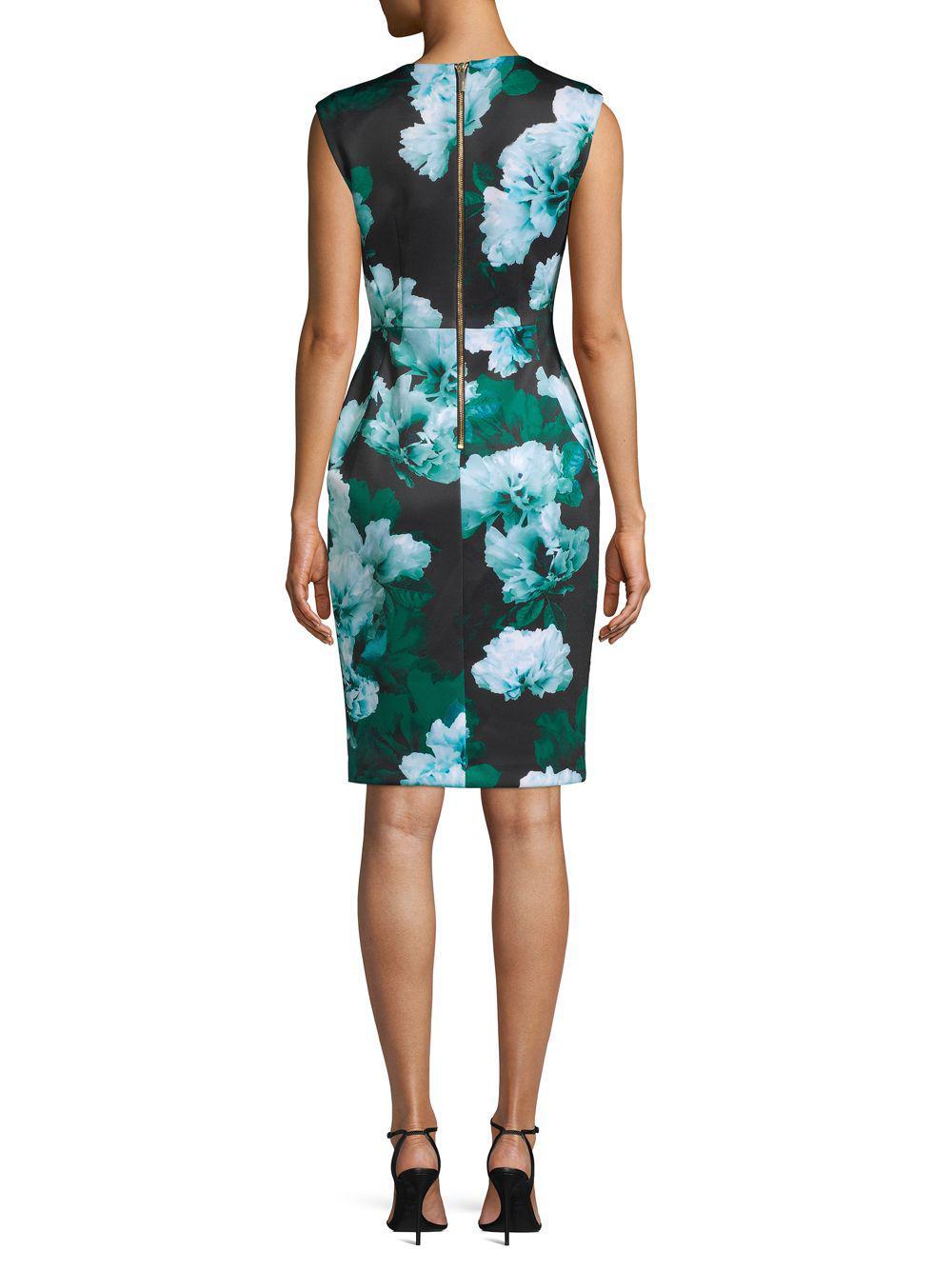 5f52b65e Calvin Klein - Green Floral V-neck Sheath Dress - Lyst. View fullscreen