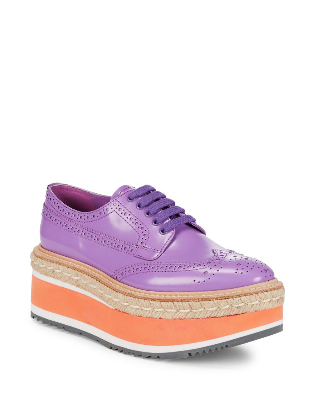 b6e7a293ab72 Lyst - Prada Wingtip Leather Platform Espadrilles in Purple - Save 29%