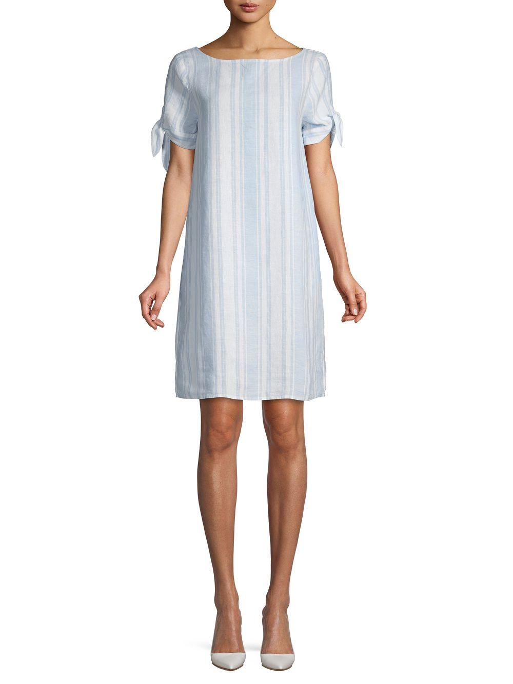bf88d7c976a709 Lyst - Saks Fifth Avenue Striped Tie Sleeve Shirtdress in Blue