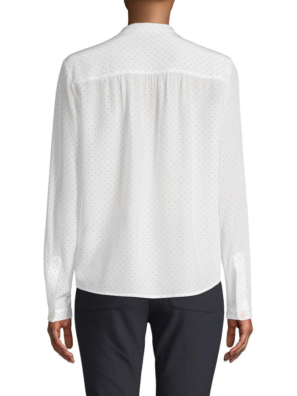 caea72bd7b44e7 Lyst - Vince Silk Polka Dot Utility Shirt in White - Save 7%