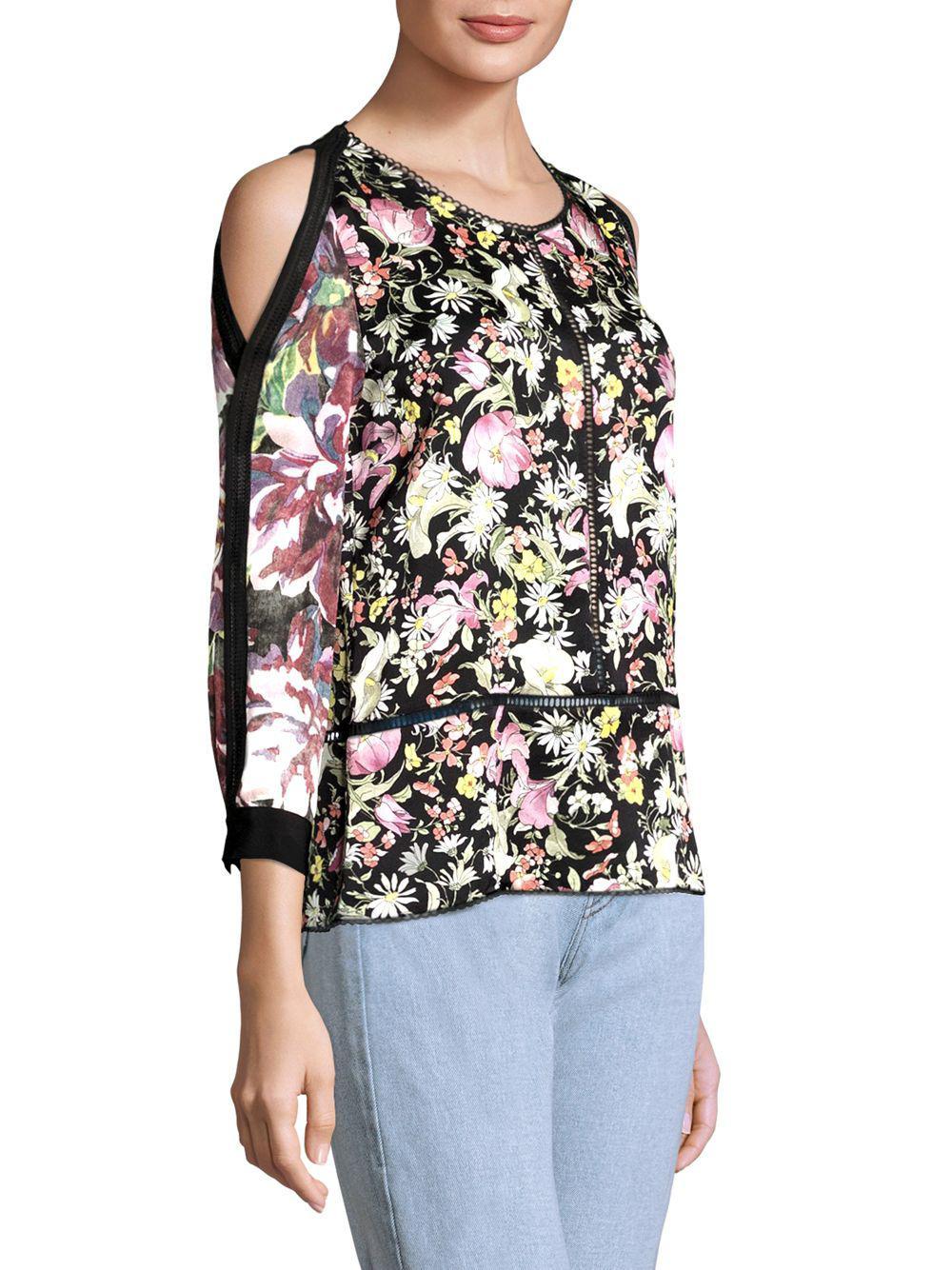 5fb09fba8a054a Lyst - 3.1 Phillip Lim Meadow Floral Silk Cold-shoulder Top in Black