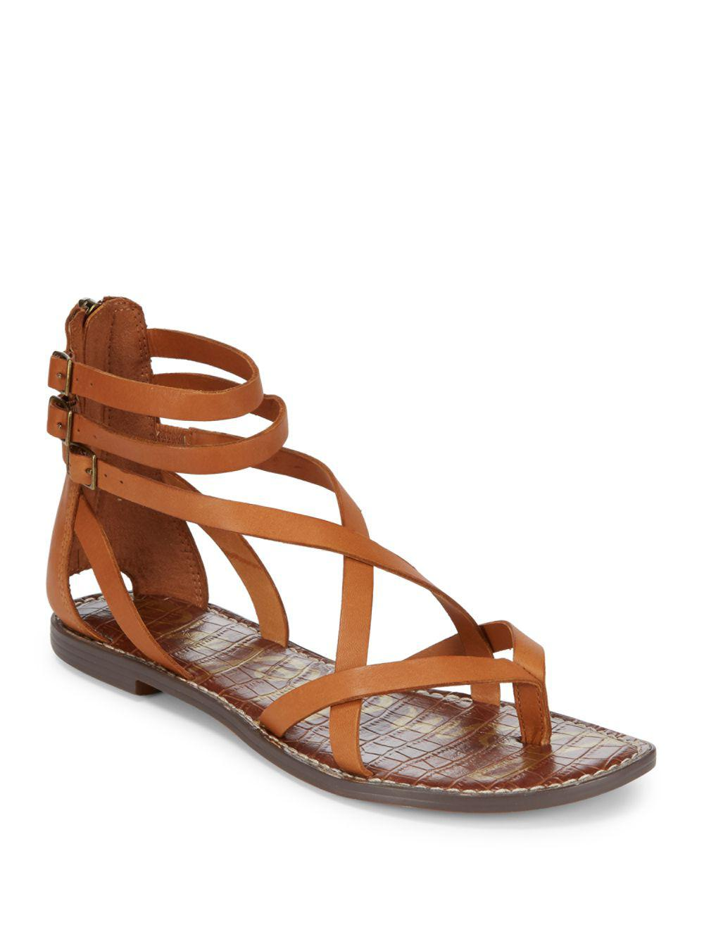 4a18acdee5d5b3 Lyst - Sam Edelman Gallagher Leather Flat Sandals in Brown