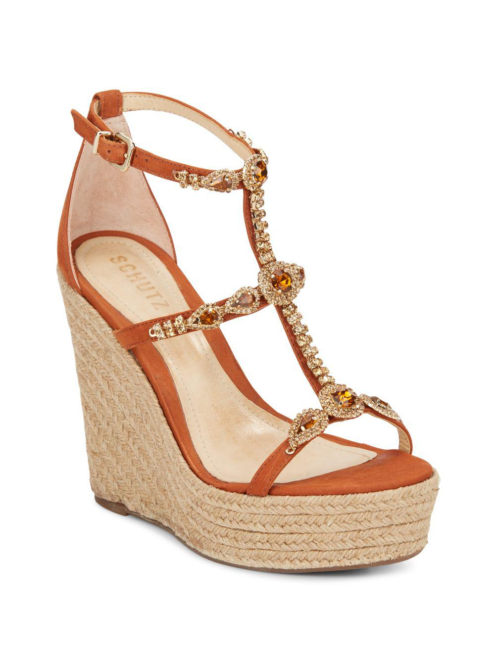 fake sale online Schutz Suede Embellished Wedges free shipping 2014 new cheap popular ap4szpMhq