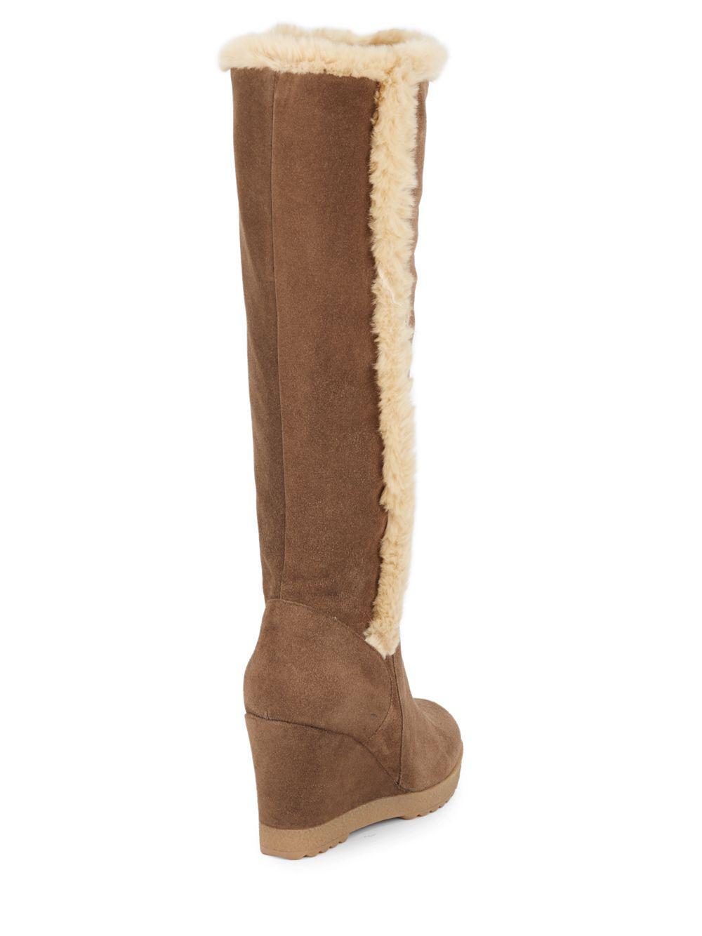 a9d0d80f3da Lyst - Aquatalia Curran Faux Fur-trimmed Suede Tall Wedge Boots in Brown