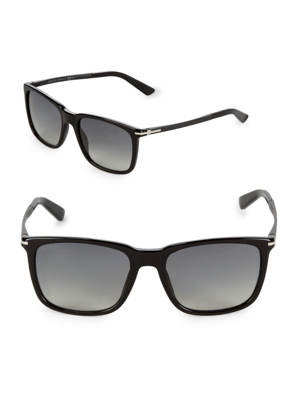 86a7937fd0f Lyst - Gucci Gradient 55mm Wayfarer Sunglasses in Black