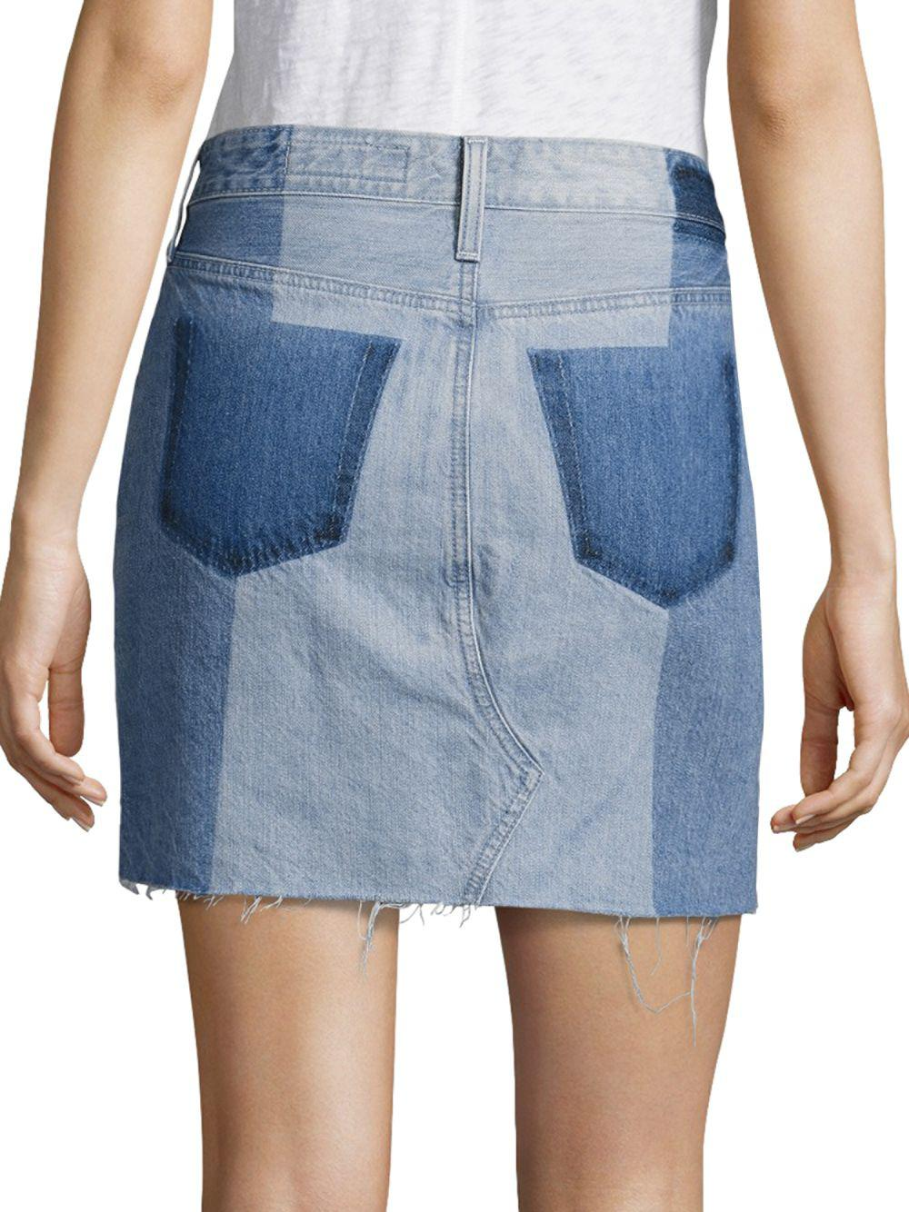 50d71a9d274 Lyst - AG Jeans Sandy Colorblock Denim Mini Skirt in Blue - Save 41%