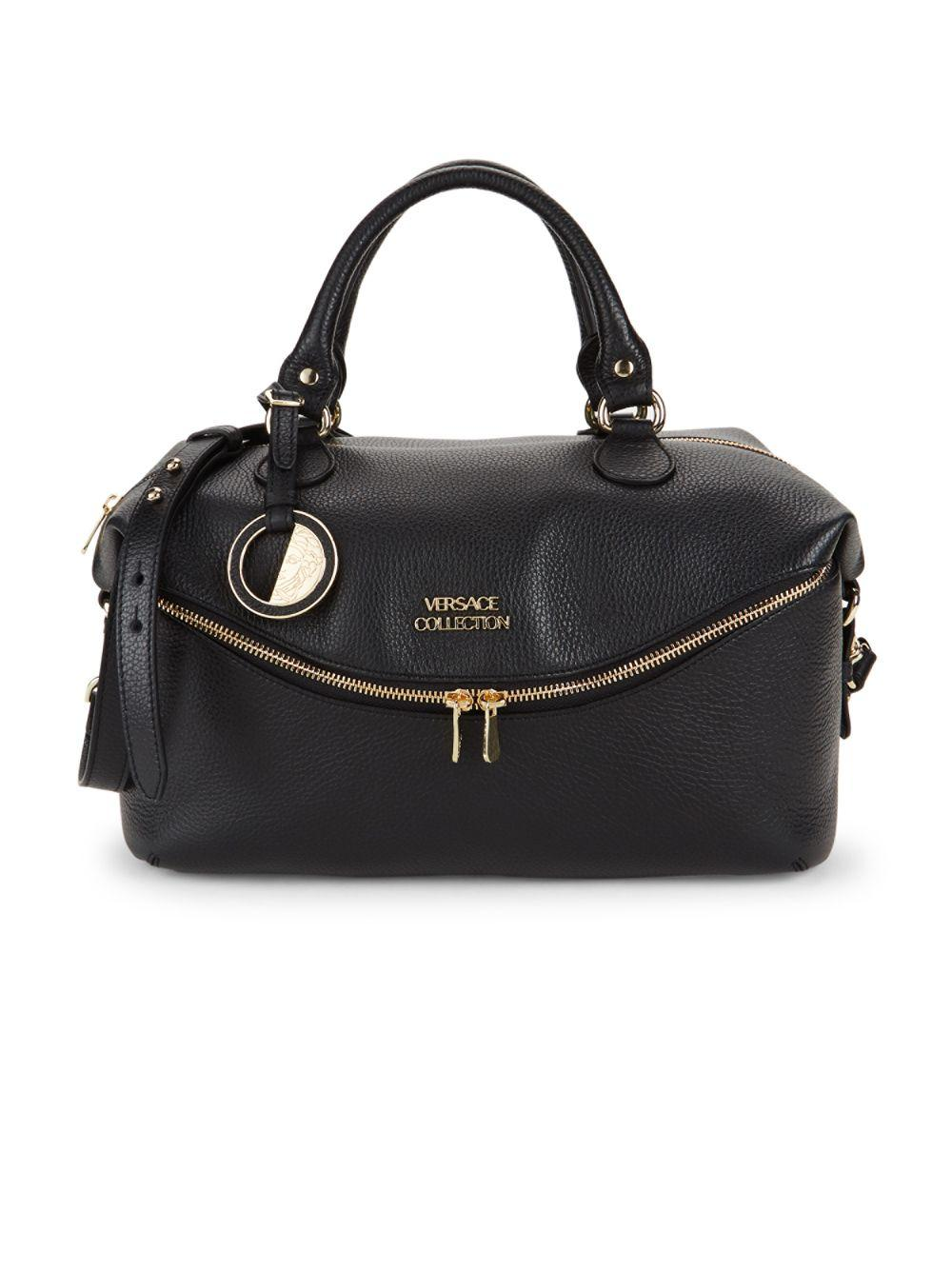 Lyst - Versace Classic Leather Top Handle Bag in Black 54998c5bd54af