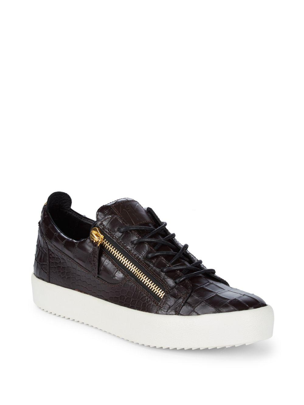 bb285b19dd4d2 Giuseppe Zanotti Crocodile Embossed Leather Sneakers in Brown for ...