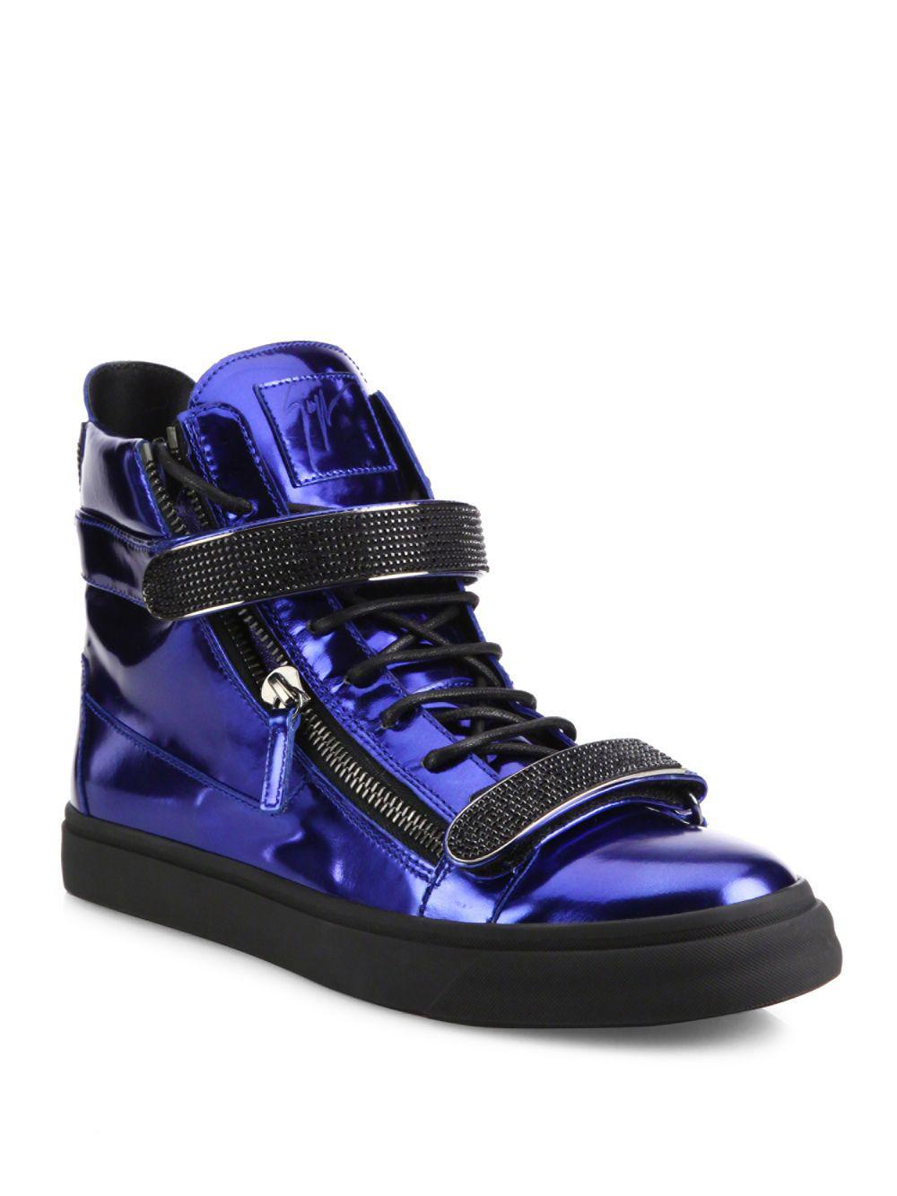 6b006f5b92160 Lyst - Giuseppe Zanotti Metallic Double Bar High-top Sneakers in ...