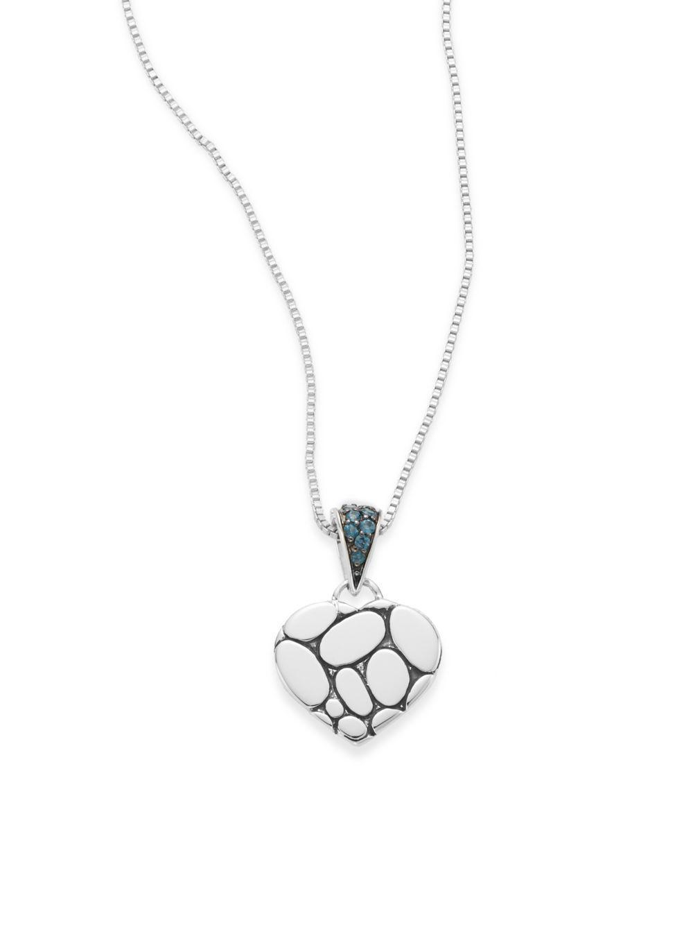 John Hardy Kali Lava Heart Pendant Necklace w/ Blue Topaz 73XQzOBKH