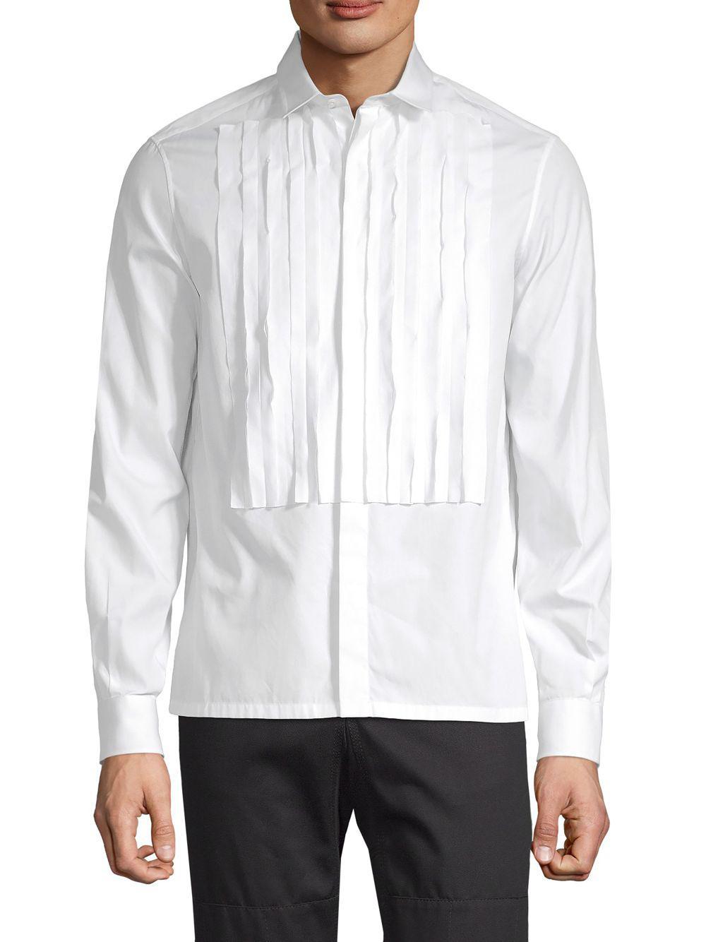 4da14e4165d4bf Valentino - White Pleated Front Long-sleeve Shirt for Men - Lyst. View  fullscreen