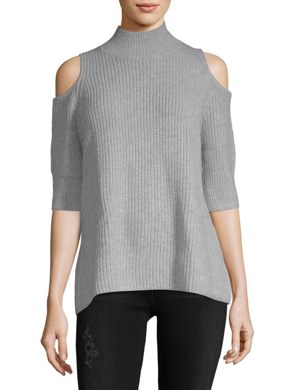 4ebebee6c212 Zoe Jordan Turtleneck Cold-shoulder Sweater in Gray - Save 23% - Lyst