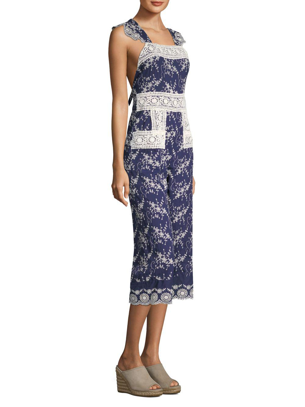 428541d6c52 Nightcap Olive Lace Apron Jumpsuit in Blue - Save 15.26717557251908 ...