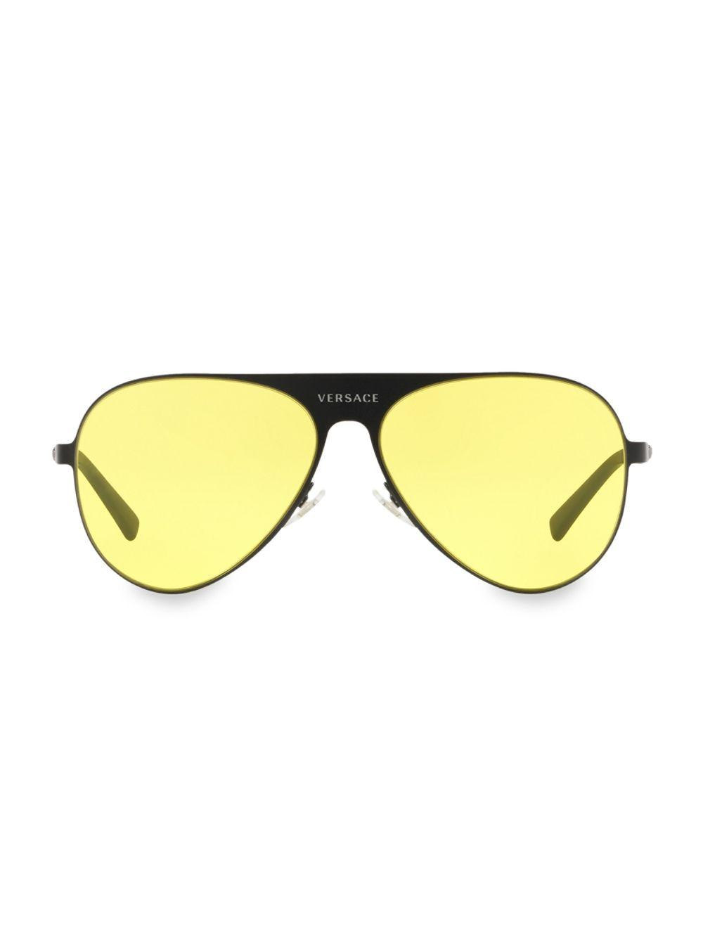 d456f81f370c0 Lyst - Versace Men s 59mm Aviator Sunglasses - Lite Brown in Yellow ...