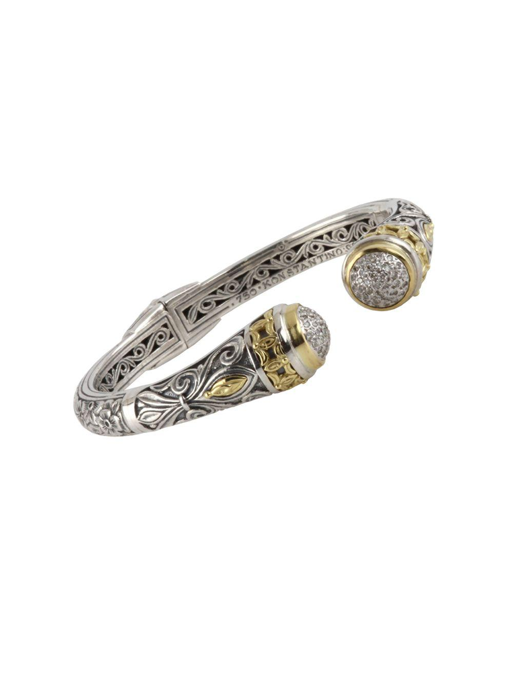 Konstantino Asteri Pave White Diamond Link Bracelet 5W8Ba