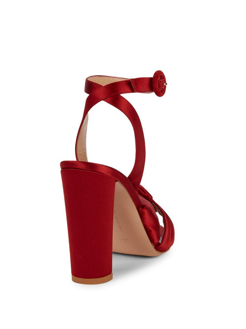 c1e6296f1f5d Lyst - Gianvito Rossi Satin Knot Block Heel Sandals in Red