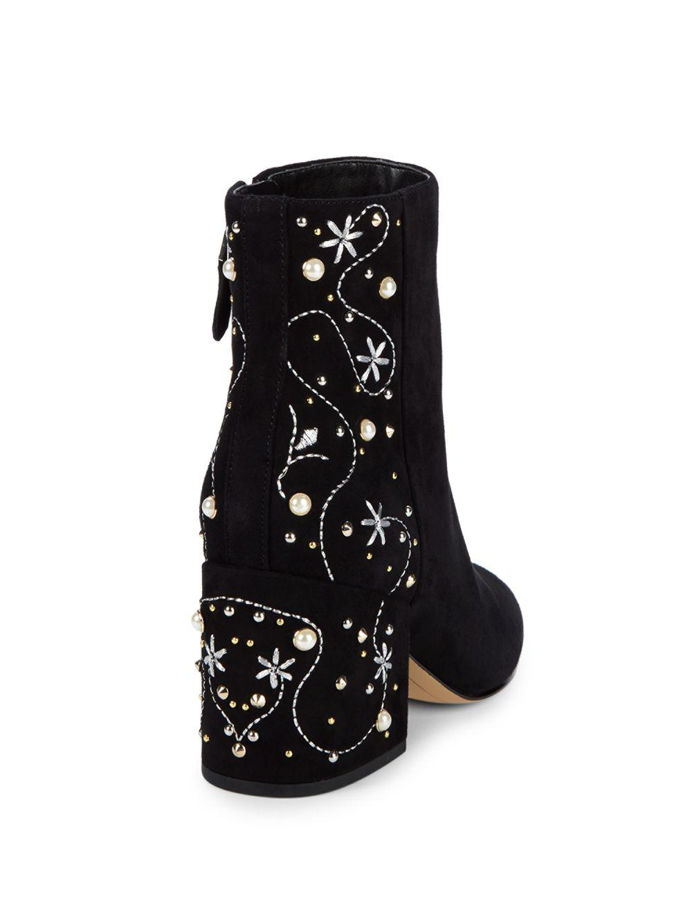 b140ce93780d77 Lyst - Sam Edelman Taft Embroidered Pearl Stud Ankle Boots in Black