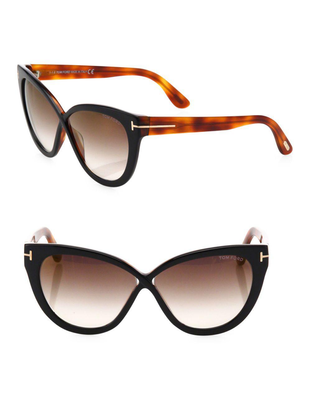 8c273c09714bc Lyst - Tom Ford Arabella 59mm Mirrored Cat Eye Sunglasses in Black