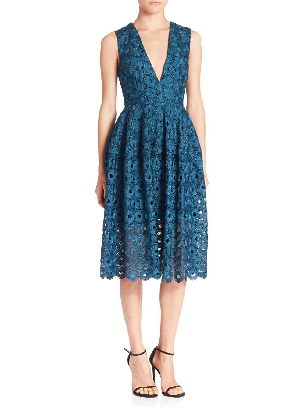 Lyst Nicholas Eyelet Lace Fit And Flare Dress In Blue