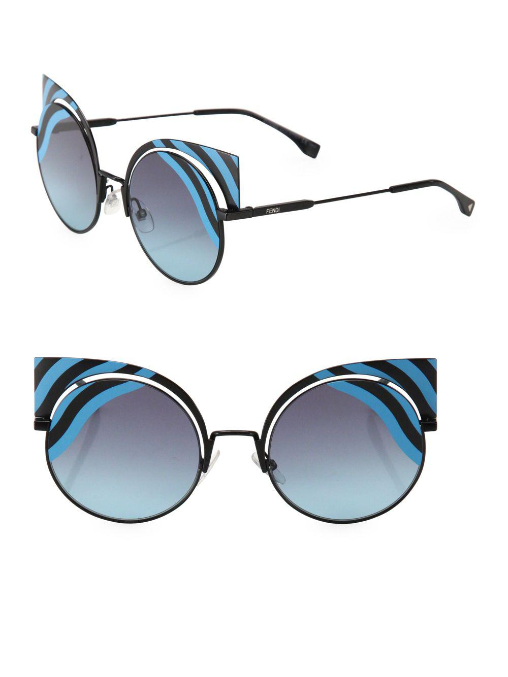 0f6478e049c Fendi - Blue 42mm Rounded Cat Eye Sunglasses - Lyst. View fullscreen