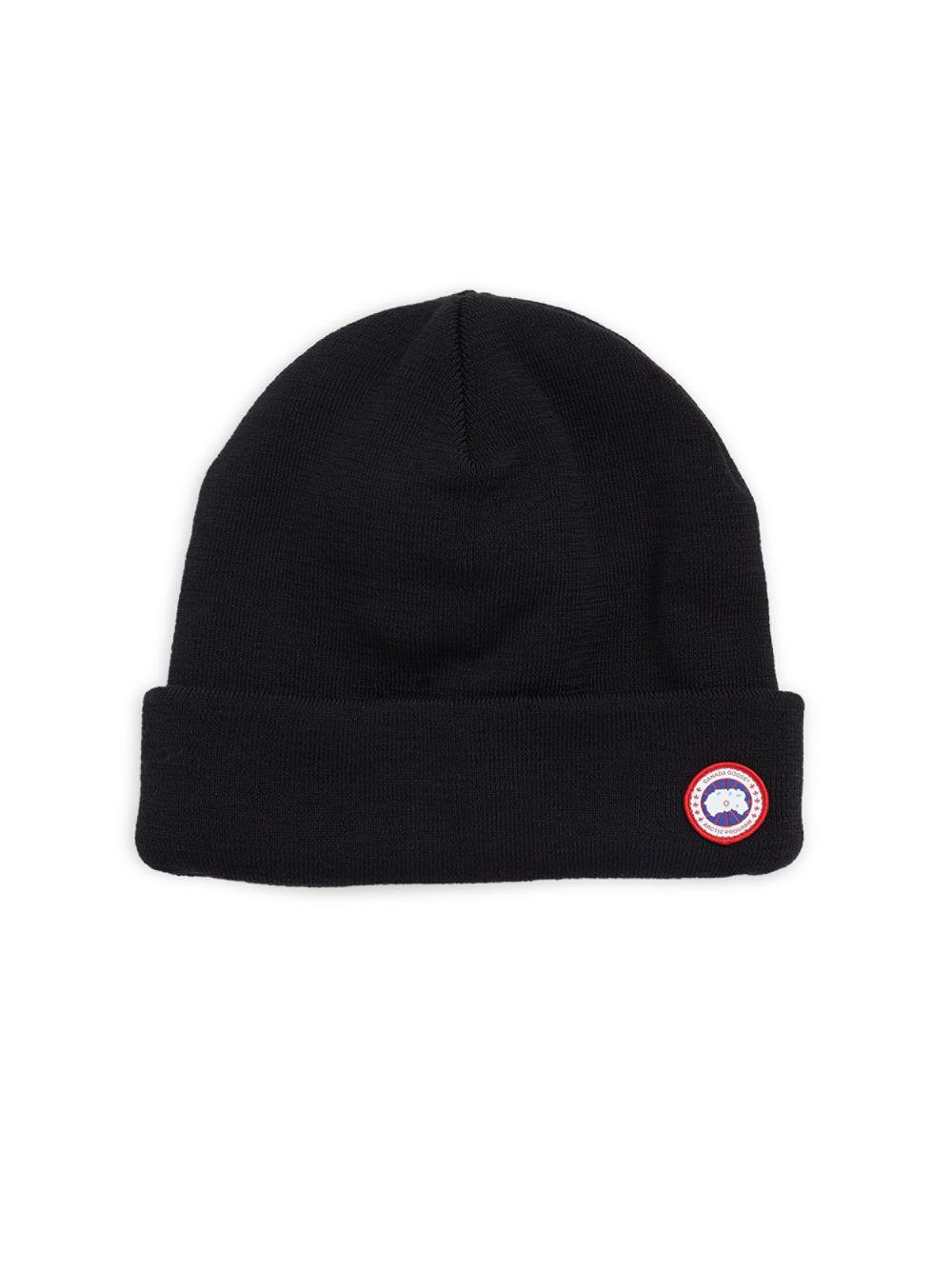 dc52369e464 Canada Goose Four Layered Wool Beanie in Black for Men - Lyst