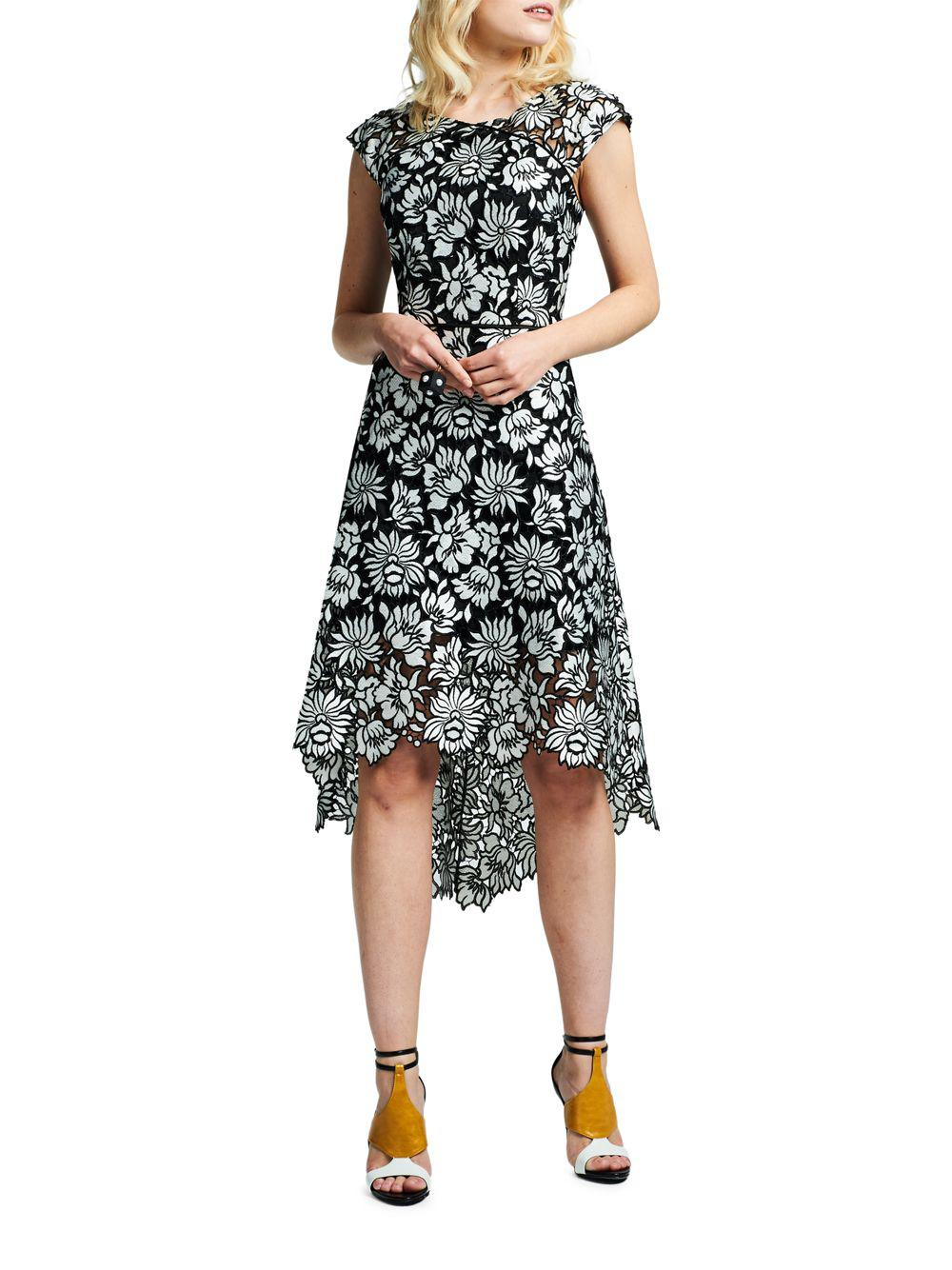 Lyst - Kay Unger Floral Pattern Asymmetric Dress in Black - Save 77%