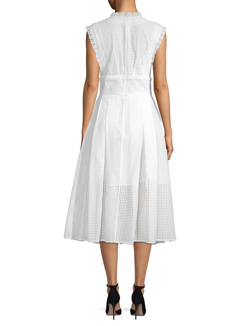cca277fd2bc Oscar de la Renta - White Lace-trimmed Eyelet Midi Dress - Lyst. View  fullscreen