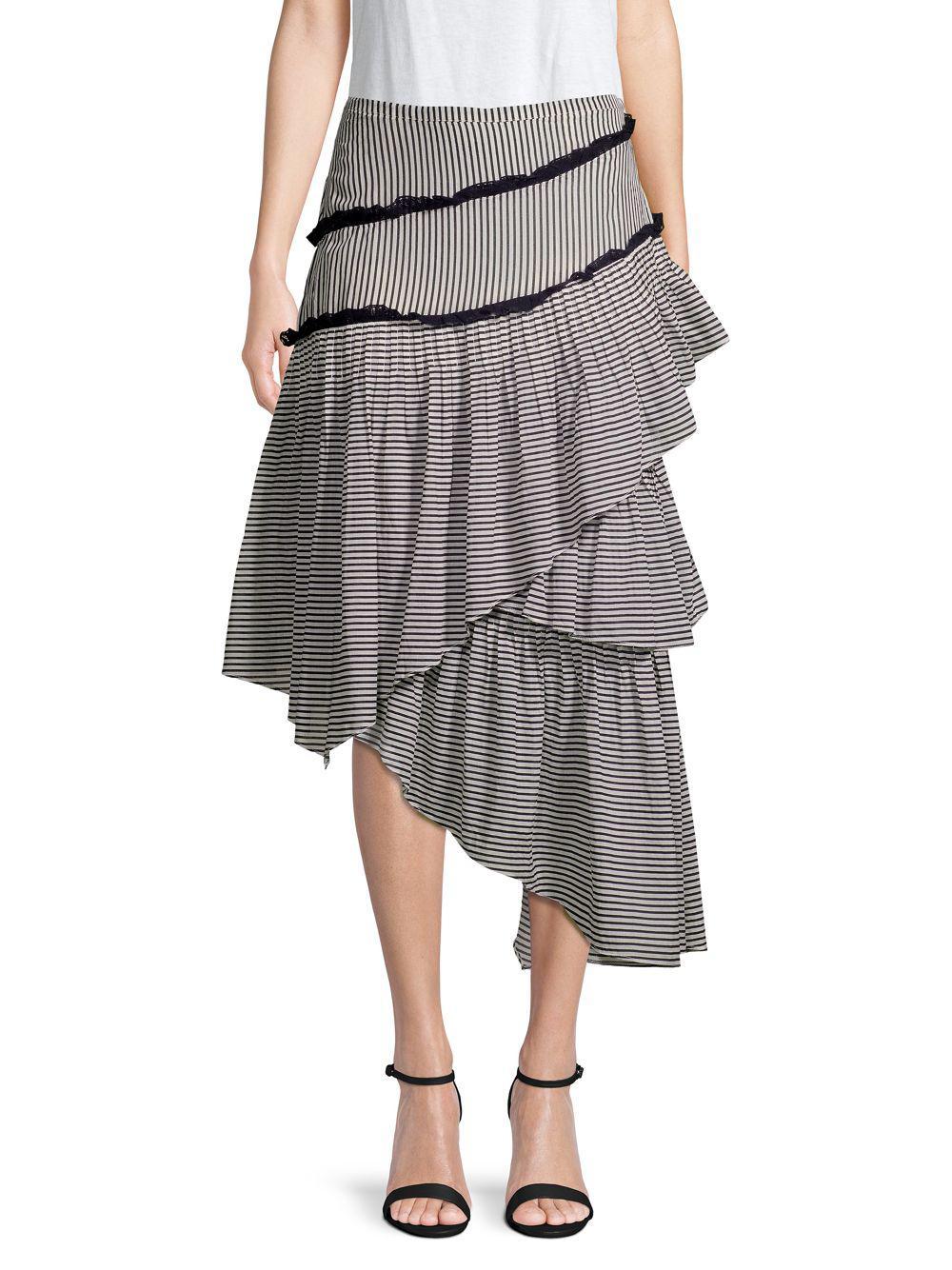 3b79ab47866 Lyst - Love Sam Hailey Striped Asymmetrical Midi Skirt in Gray