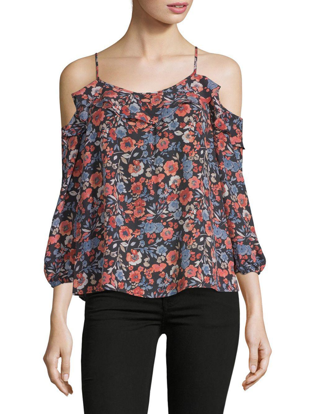 63f88c03482ba4 Joie. Women s Birtha Floral Cold-shoulder Silk Top