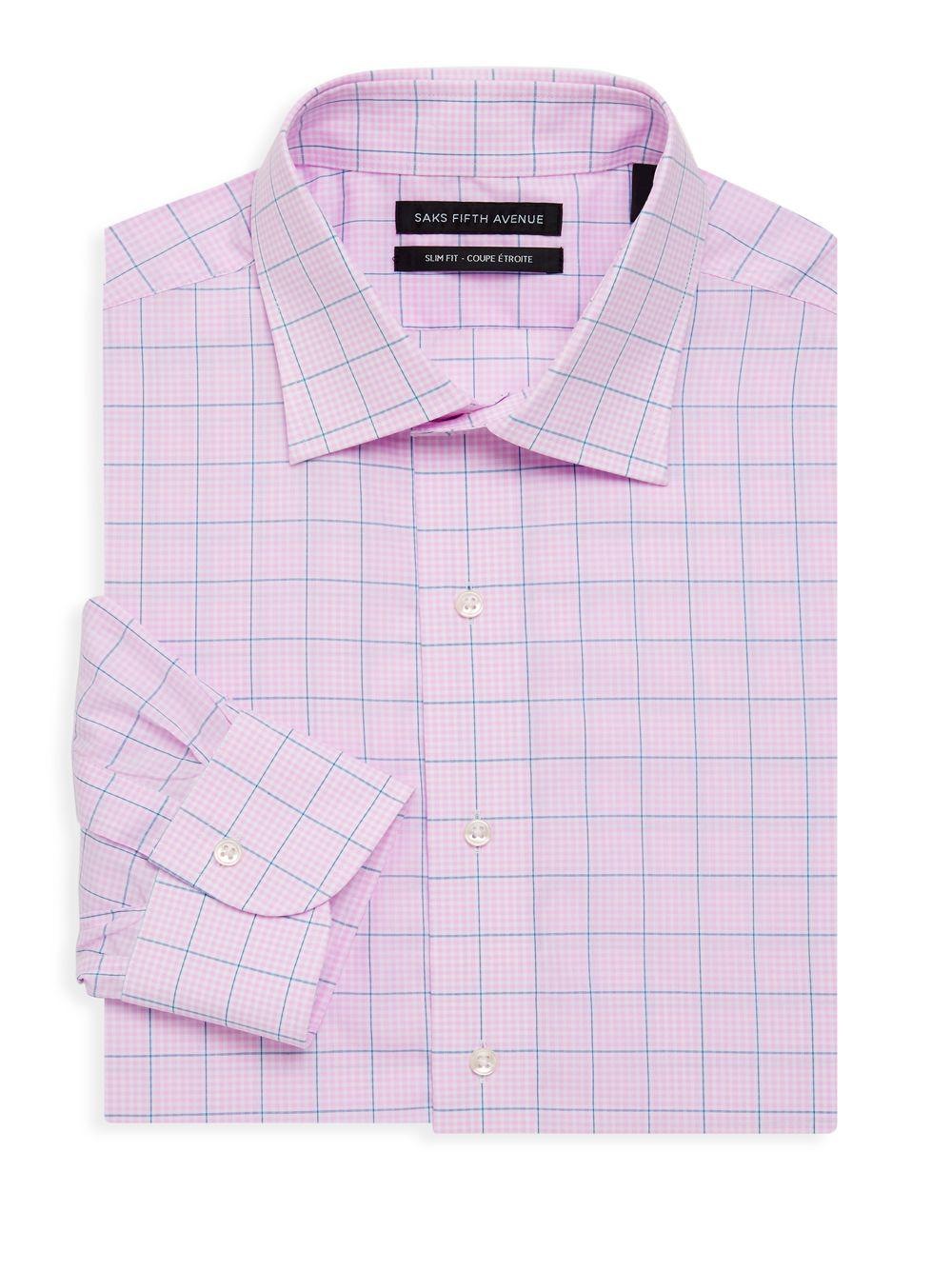 Lyst Saks Fifth Avenue Slim Fit Checkered Dress Shirt In Pink For Men