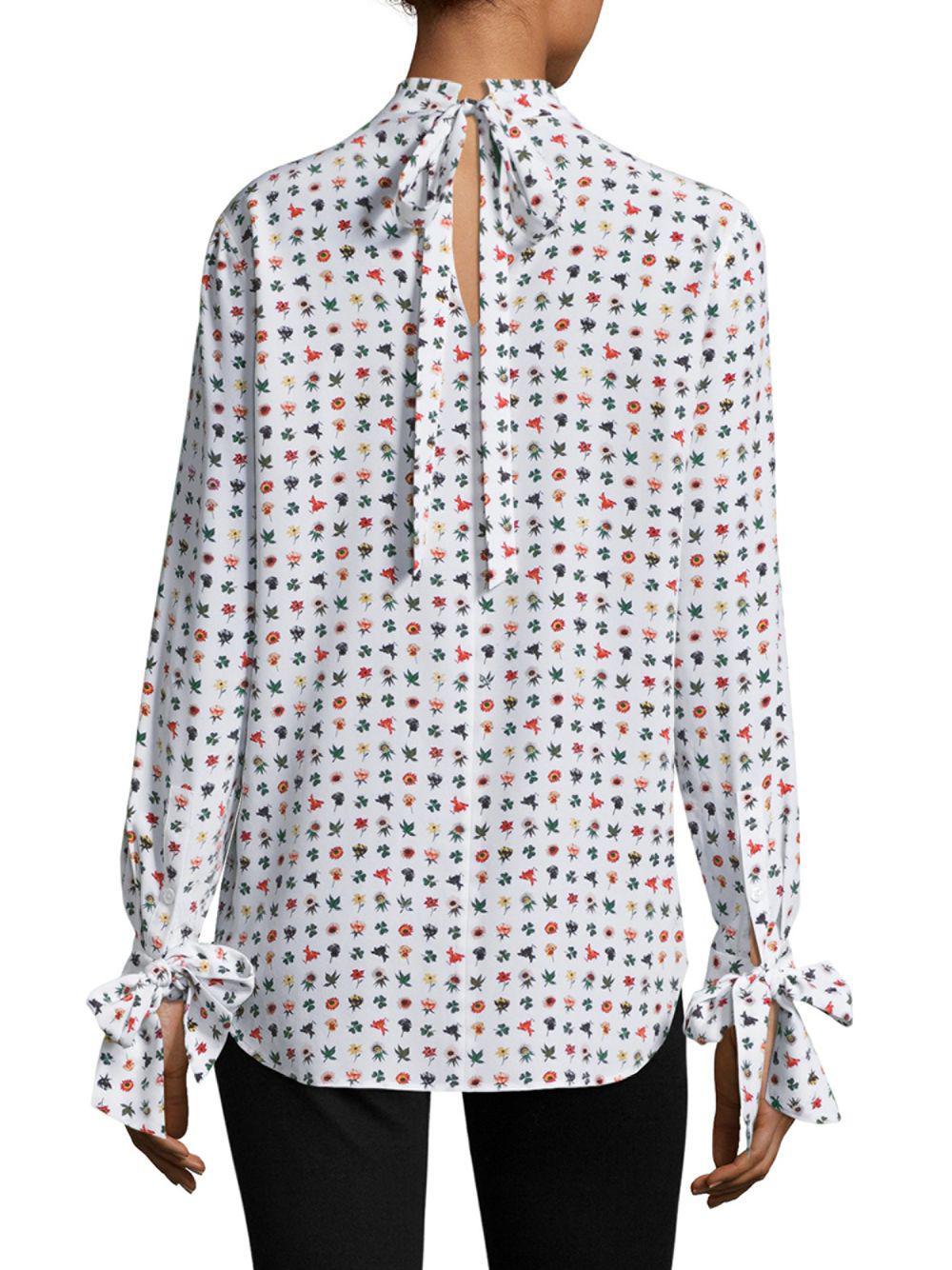 27fe88d362105a Lyst - Equipment Aurora Tie Mini Floral Silk Blouse in White