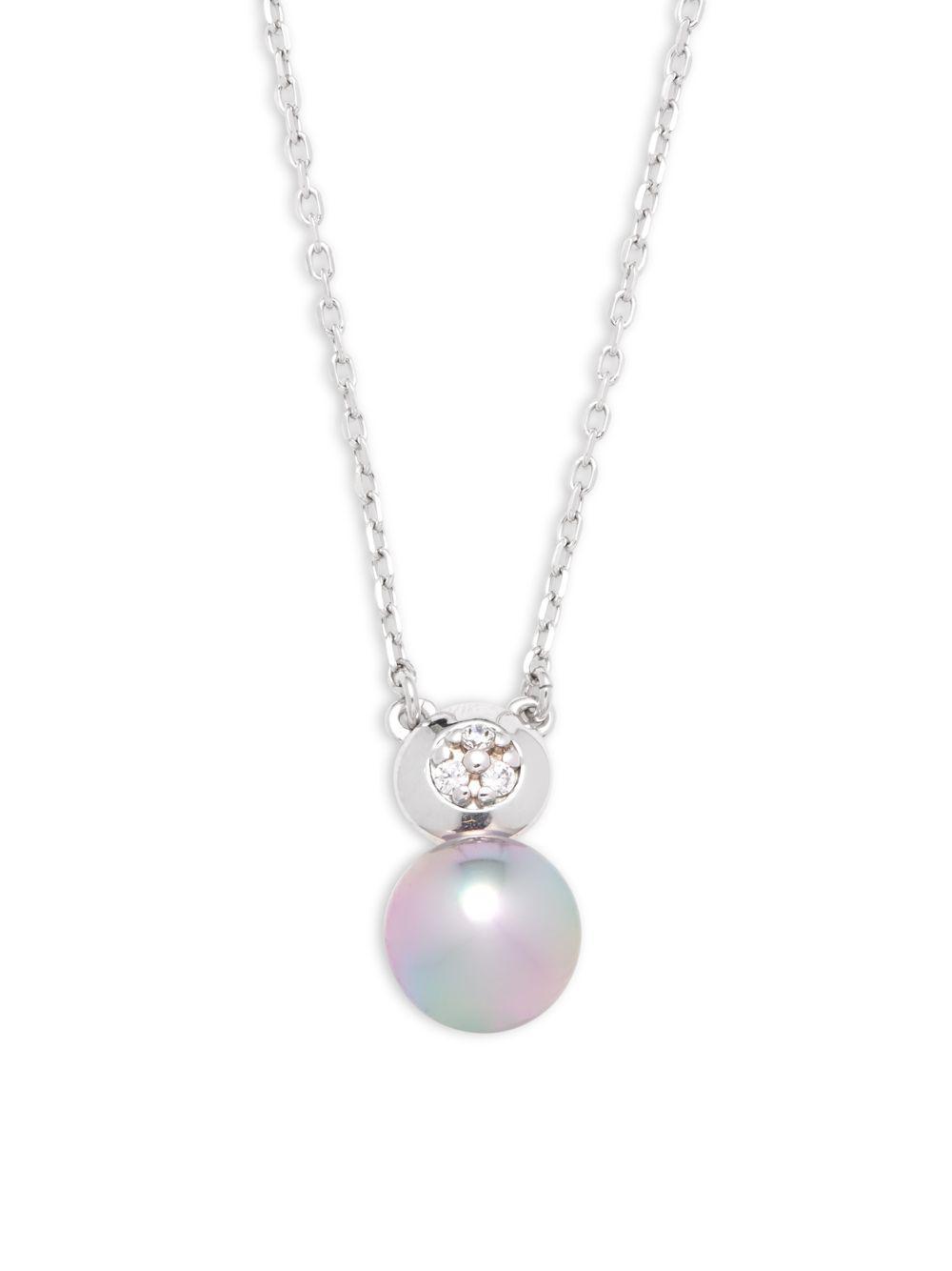 Majorica Linear Pearl Pendant Necklace, 7mm