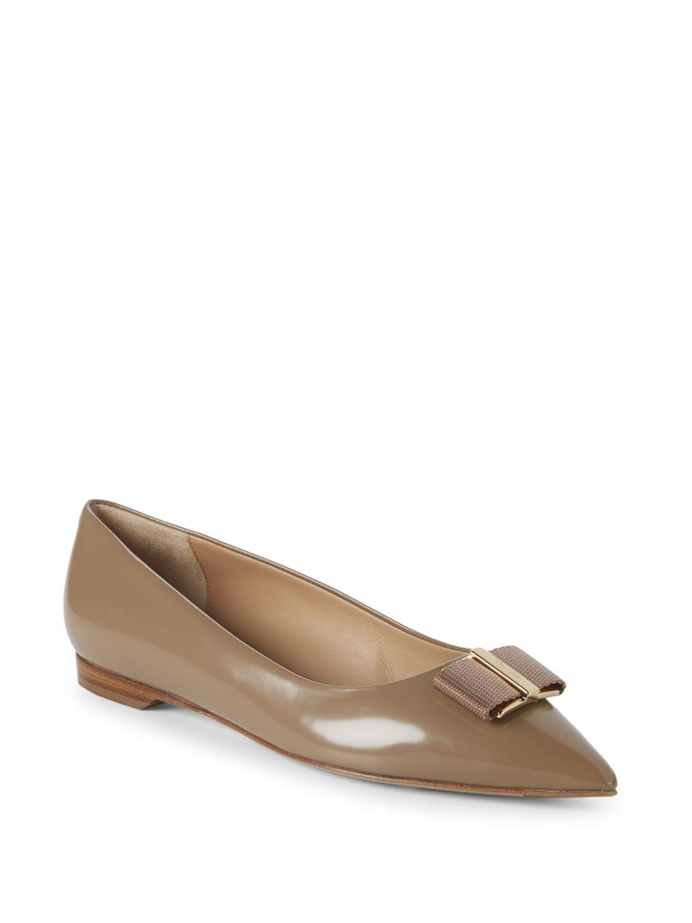 87842db6b98d Lyst - Ferragamo Point Toe Leather Ballet Flats in Natural