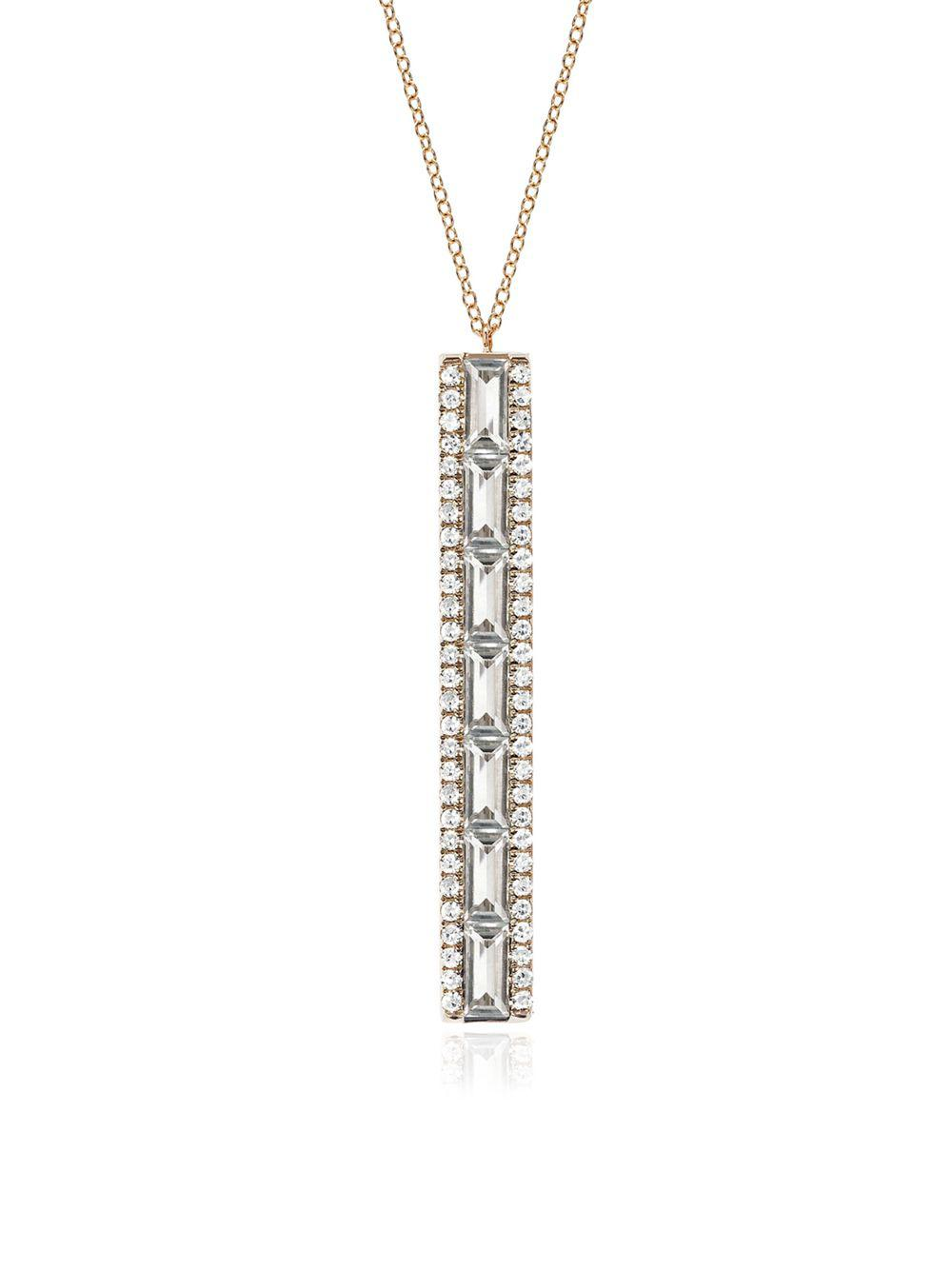 EF Collection White Topaz Baguette Mini Bar Necklace in Metallic Gold CNNSSD