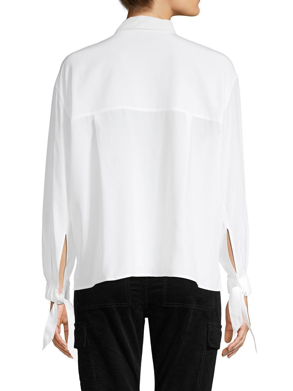 8029baa5c82e3 Lyst - Vince Silk Tie Sleeve Blouse in White