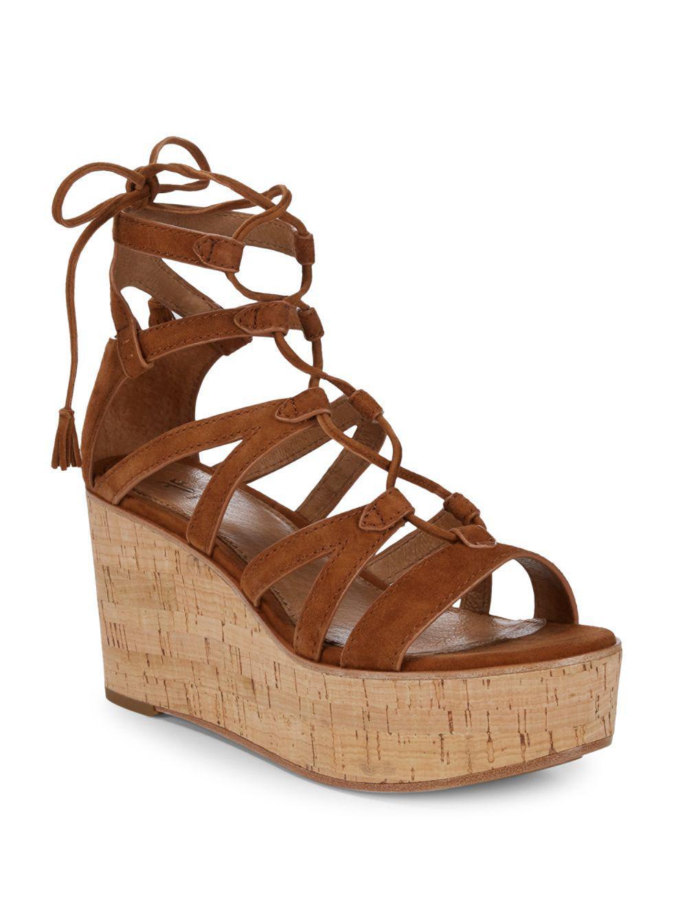 fcea273cdc819b Lyst - Frye Heather Suede Gladiator Wedge Sandals in Brown - Save 54%
