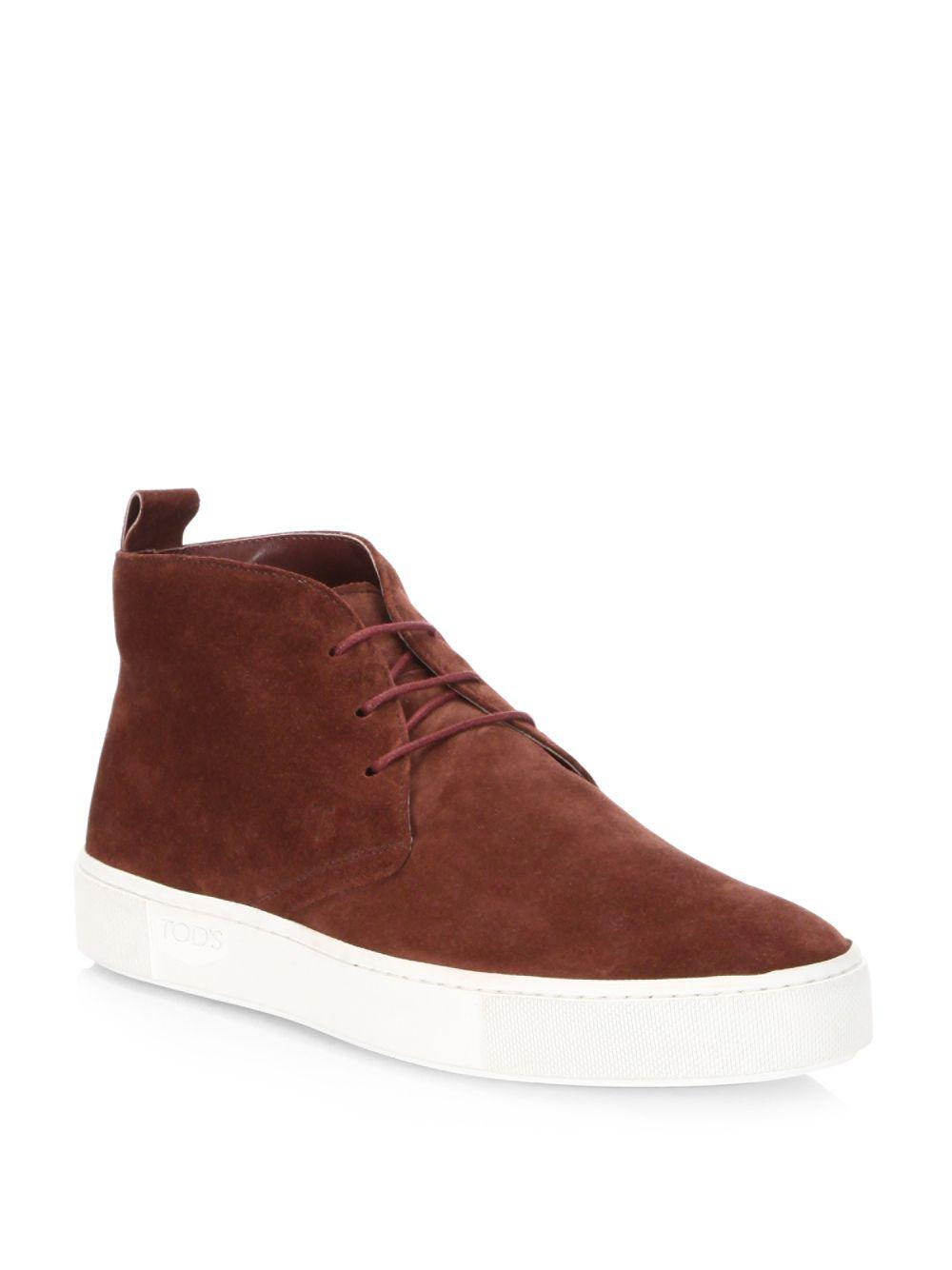 bed2309e4e013 Tod s Lace-up Suede Chukka Sneakers in Red - Lyst