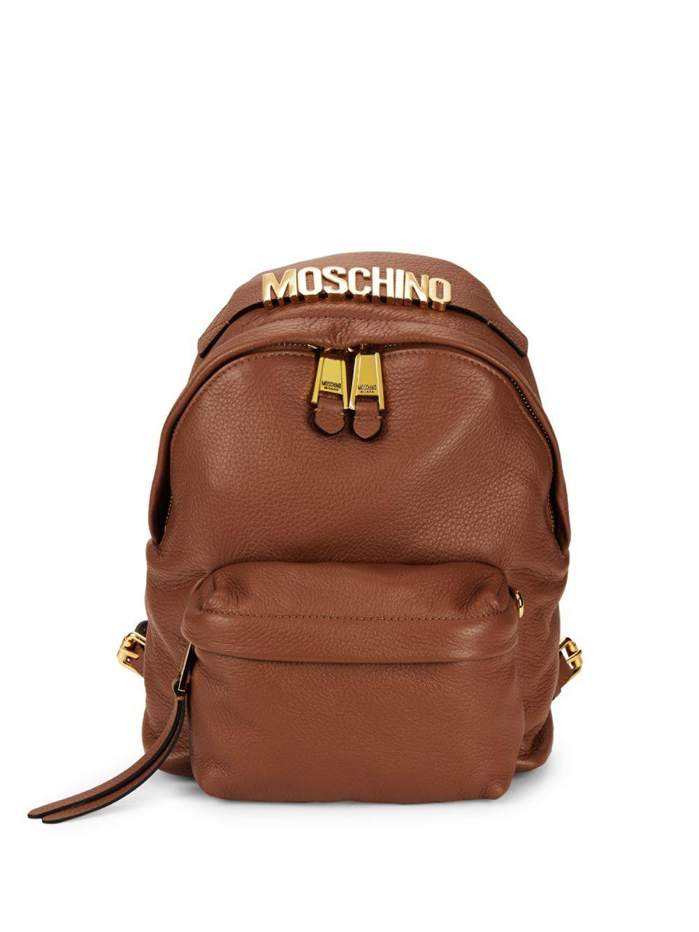 c65435556bea4 Lyst - Moschino Logo Leather Backpack in Brown