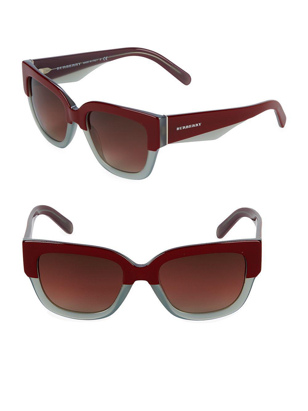 410bc7a94f4c2 Burberry - Red 53mm Square Sunglasses - Lyst. View fullscreen