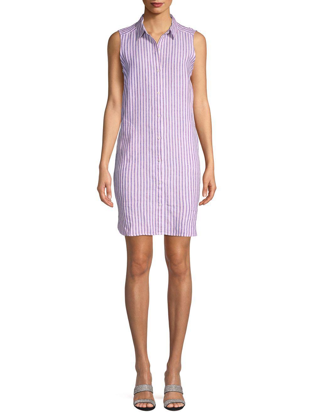 966a4072a68 Pure Navy Sleeveless Striped Linen Shirtdress in Purple - Lyst