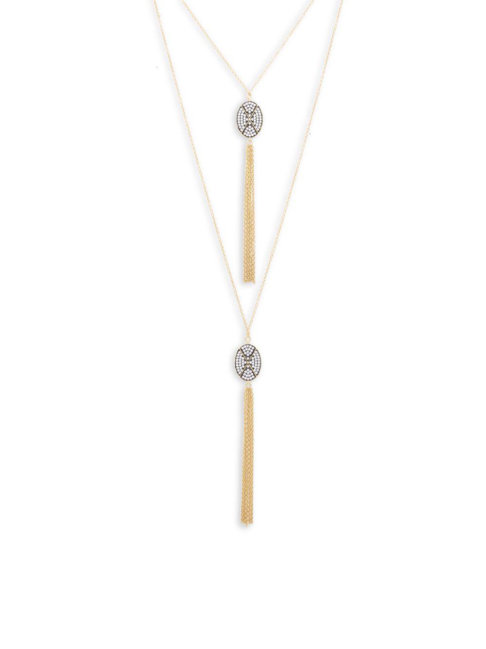 Lyst - Freida rothman Contemporary Deco Tassel Necklace in Metallic