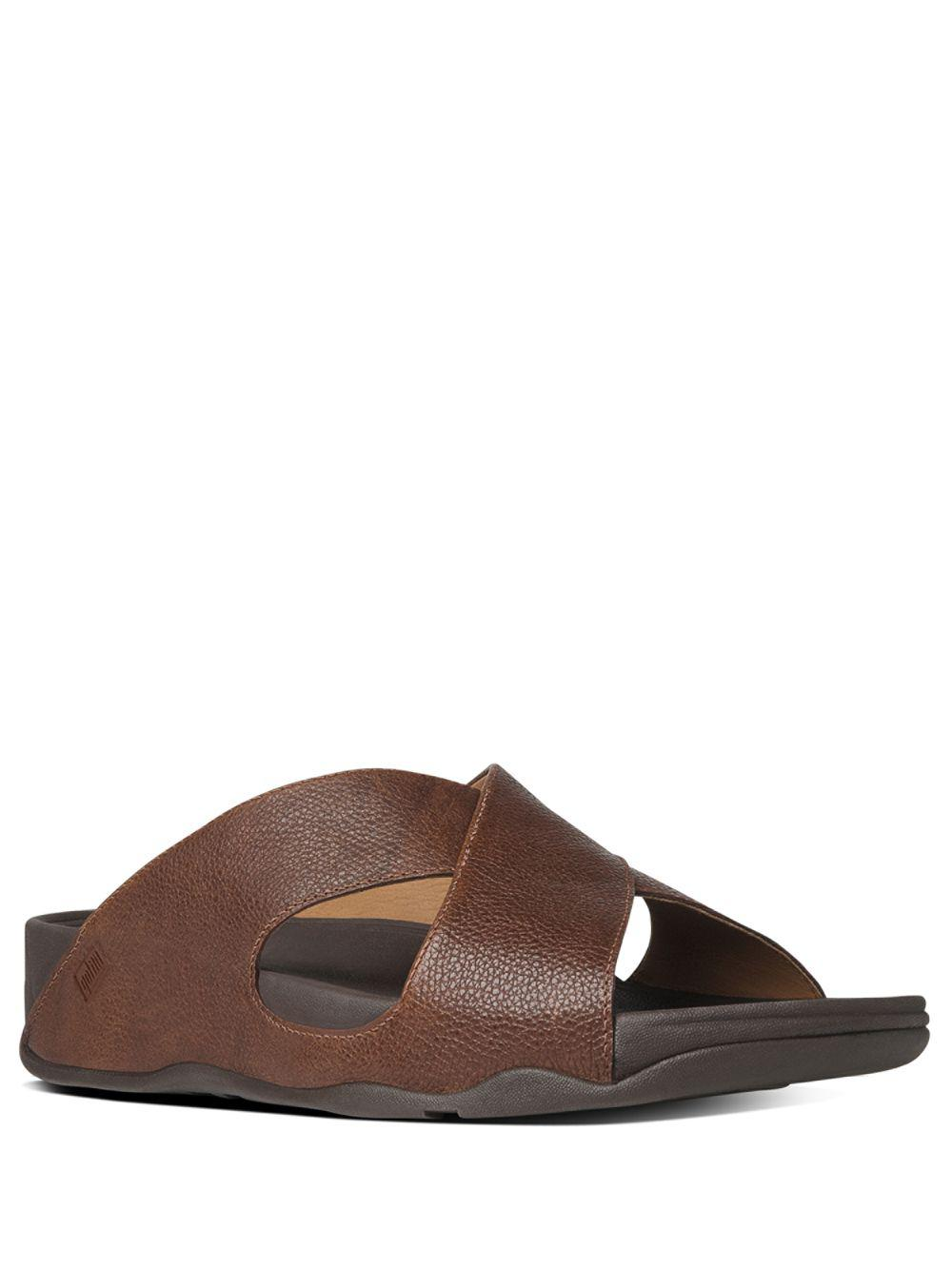 ea61859a1d91 Lyst - Fitflop Xosa Leather Slides in Brown